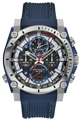 brand new BULOVA Precisionist chronograph blue polyurethane BAND WATCH 98B315