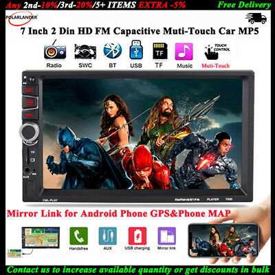7''2Din Car MP5 Bluetooth Stereo FM/TF/USB/AUX Radio Mirror Link for Android GPS