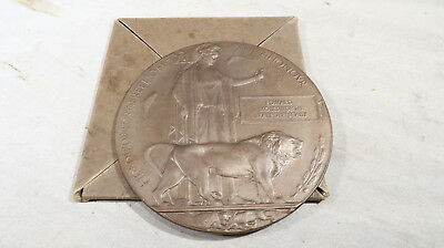 WWI British Army English Death Penny BOXED with Papers Edward Sealy