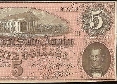 1864 $5 Dollar Confederate States Currency Civil War Note Old Paper Money Au