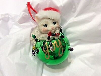 "Playful Gray Kitty Cat Santa Hat on Green Ball Christmas Ornament ""joy"""