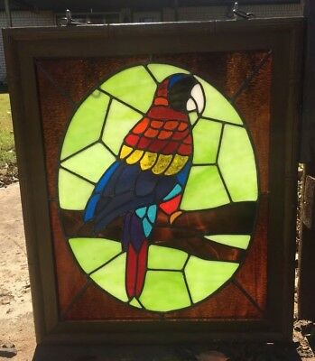 Vintage Window Stained Glass Bamboo Style Framed Tropical Macaw Bird 18x22''