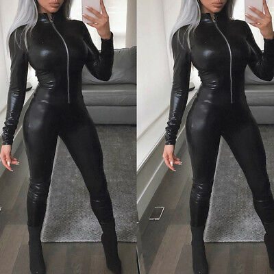 Sexy Womens Faux Pu Leather Bodycon Bodysuit Romper Jumpsuit Catsuit Clubwear