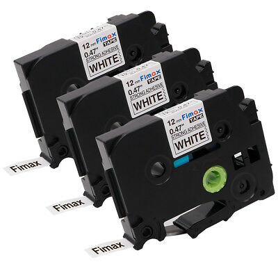 TZe-S231 Black / White Label Tape TZ S231 Strength Adhesive Brother p-touch 3PK
