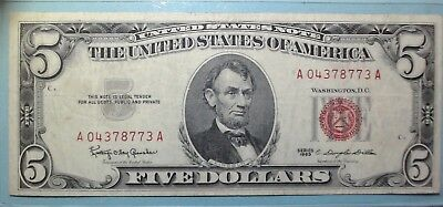 1963 Five Dollar Bill Red Seal Note VG - Fine FREE SHIPPING