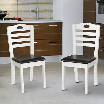 HOMCOM Dining Chairs Set of 2 PU Leather Padded Seat Solid Wood Kitchen