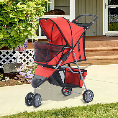 PawHut Cat Dog Pet Travel Stroller Jogging Pushchair Carrier Swivel Red