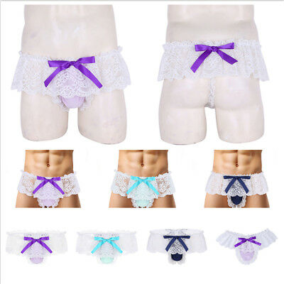 Silky Nylon Lace Bow Pouch Men Lingerie Skirted Thong Sissy Gay Underwear Briefs