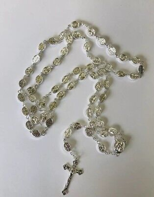Rosary Of Electroplated Silver Beads With Crucifix