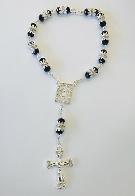 Rosary Of Black Acrylic Beads With Crucifix In Silver And Diamond Decorated
