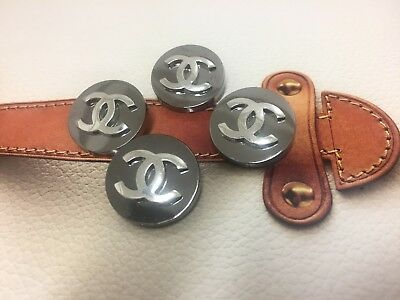 "Chanel Buttons 7/8"" Round CC logo Metal Silver * Set of 4 buttons *"
