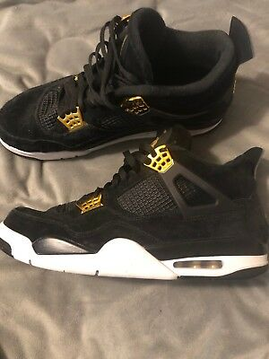 7905ac629b2724 MENS AIR JORDAN 4 Retro Royalty IV 308497-032 Black  Metallic Gold ...