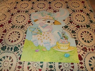 "Vtg Easter Diecut Cardboard Decoration Large 16"" Bunny Egg Cricket"