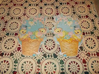 "Vtg Easter Pair Diecut Cardboard Decoration Large 14"" X 10"" Chicks Basket Eggs"