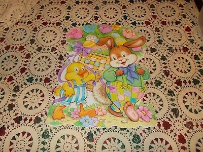 "Vtg Easter Bunny Diecut Cardboard Decoration Large 18"" X 15"" American Greetings"
