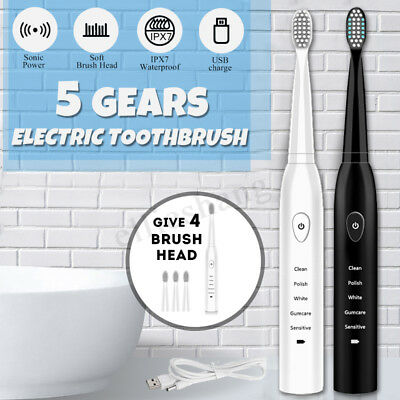 5 Modes Electric Toothbrush Sonic Power IPX7 Waterproof USB Charge&4x Soft Head