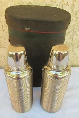 Pair of Antique Vintage Thermos Stainless Steel Bottles Cup Stopper Case