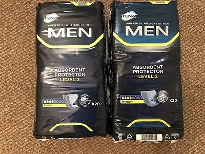 TENA Men Absorbent Protector - Level 2 - 2 X Pack of 20= 40 Pads Incontinence