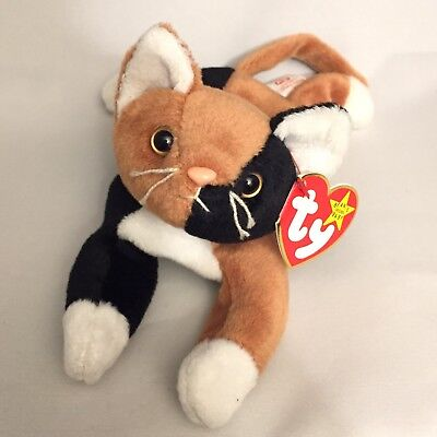 Ty Beanie Baby CHIP the Calico Cat PVC Pellets Tag Errors #4121 RARE Babies