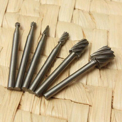 6x HSS Routing Router Grinding Bits Burr Speed Kit For Rotary Dremel Cutter Tool