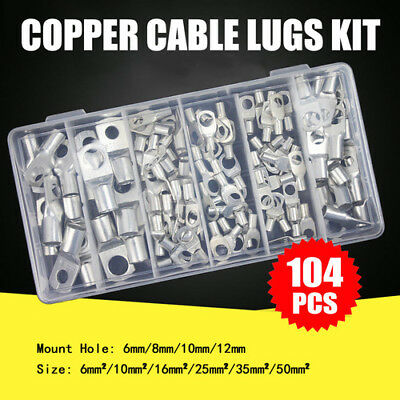 104Pcs Copper Cable Lugs Kit 6mm 10mm 16mm 25mm 35mm 50mm Battery Terminals