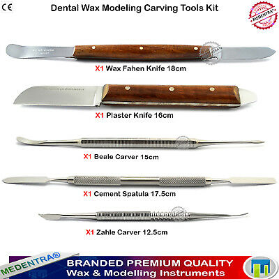 Set of Lab Wax Knives Plaster, Wax, Porcelain and Modelling Carvers, Shapers 5pc