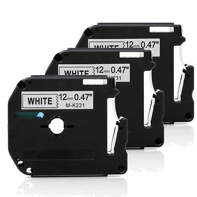 3 PCS M-K231 Black on White Label Compatible for Brother P-touch 12mm 8m  PT65