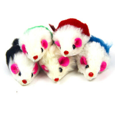5X Colorful Rabbit Fur False Mouse Pet Kitten Cat Toy Mini Funny Playing Toy New