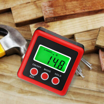 Digital Protractor Inclinometer Level Box LCD Gauge Angle Finder Magnet Base RED