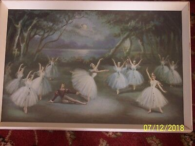 Vintage Shabby Chic Ballet Picture In Wooden Frame 40Cm X 27Cm