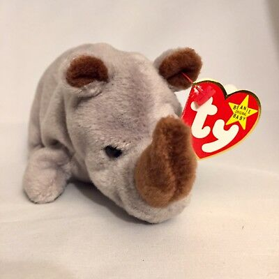 Ty Beanie Baby Spike the Rhinoceros PVC Tag Errors #4060 Retired Babies *crease*