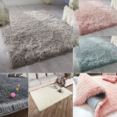 Dazzle Sparkle Silver/Pink/Duck Egg Silky 6Cm Thick Long Pile Glitter Shaggy Rug