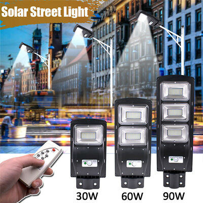 30/60/90W LED Solar Street Wall Light Radar Induction Outdoor Timing Lamp Remote