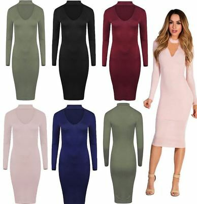 New Ladies Long Sleeve Choker Neck Dress Womens V Neck Midi Plain Plus Size 8-26