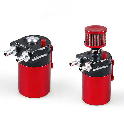 Black+Red Universal Aluminum Engine Oil Catch Can Reservoir Breather W/ Filter