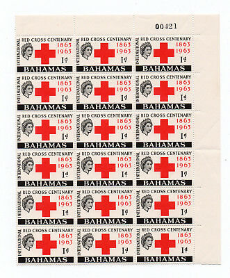 Bahamas - Red Cross Centenary 1863 - 1963 - Block of 18 Stamps.