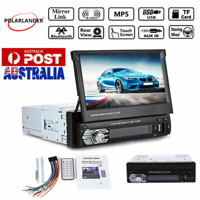 """1 Din Single 7"""" HD Touch Screen Flip out Car Stereo Bluetooth Radio MP5 Player"""
