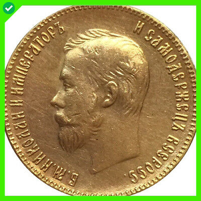 Hot Coins 24-K Gold plated 1901 russia 10 Roubles gold Coin