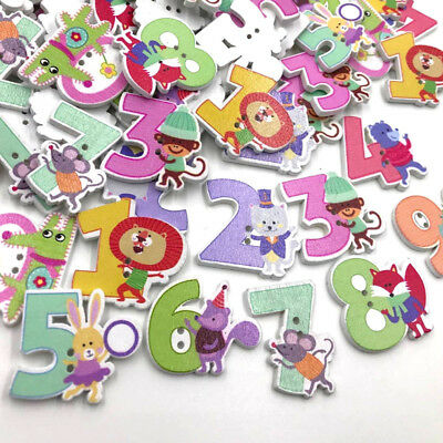 50/100pc Mix Animals Letters kid's/ Baby Wood Button DIY Craft Sewing WB407