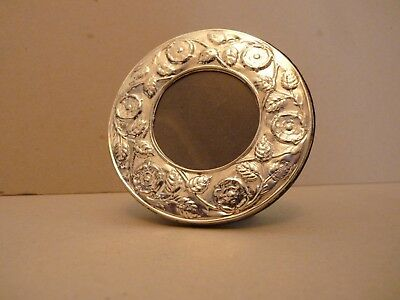 Tudor Rose & Oak Leaf design Sterling Silver Circular Hallmarked Photo Frame