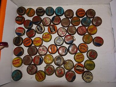 Lot of 57 Vintage Soda Pop Bottle Cork used Caps Mason's Grapette and MORE