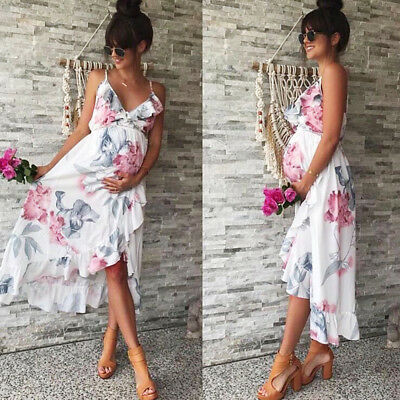 New Womens Mother Casual Floral Falbala Pregnant Dress For Maternity Clothes AB