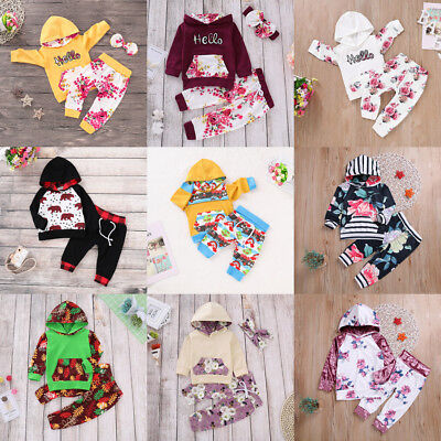 Newborn Toddler Kids Baby Boy Girl Hooded Sweater Tops+Pants Outfits Set Clothes