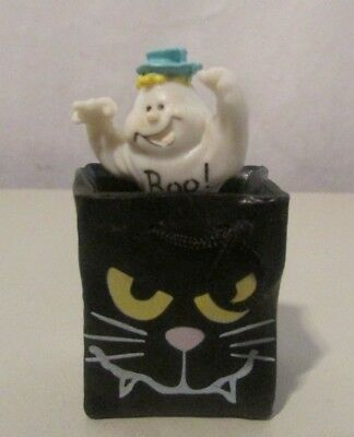 "Boo! Ghost in Trick or Treat Black Cat Bag Figurine 2"" Halloween Decor"
