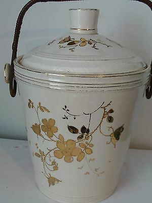 Anitque Victorian Large Slop Pail - cream and gold floral