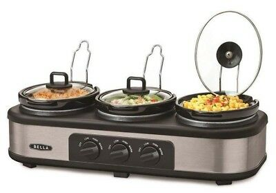 Bella Triple Slow Cooker and Serving Buffet Station Food Warmer Server 3 Pots