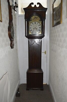 VICTORIAN DARK OAK 8 DAY GRANDFATHER CLOCK c1860