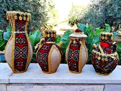 Pottery Jar Embroidered Hand Made Jerusalem Handicraft for Wedding and Scenery