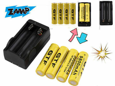 4X 18650 3.7V 9800mAh Rechargeable Li-ion Battery&Charger For Flashlight Lot TO