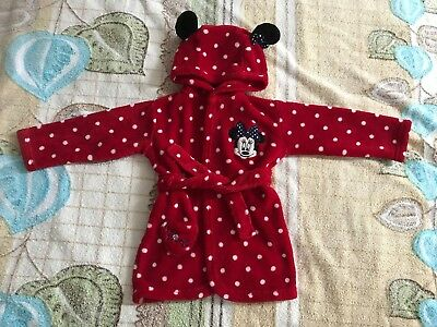 Baby Girl Fleece Hooded Minnie Mouse Red Dressing Gown Bath Robe 9-12 Mths 74-80